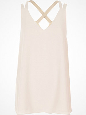 River Island River Island Womens Light Beige cross back double strap cami top