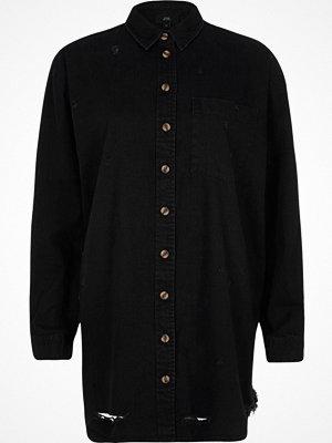 River Island River Island Womens Black oversized ripped hem denim shirt