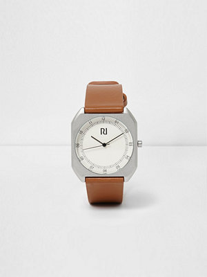 Klockor - River Island Tan brown strap silver case watch