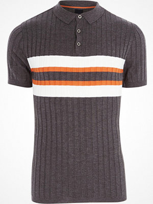 Pikétröjor - River Island River Island Mens Dark Grey blocked rib knit polo shirt