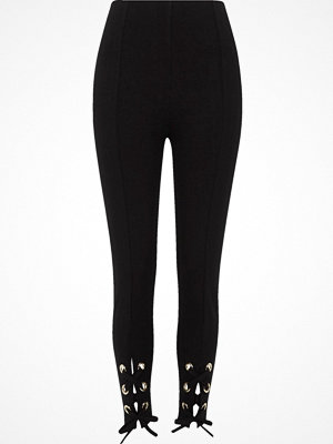 River Island Black eyelet tie-up hem leggings