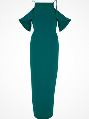 River Island River Island Womens Dark Green frill sleeve bodycon maxi dress