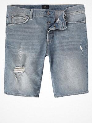 Shorts & kortbyxor - River Island River Island Mens Ice Grey wash skinny fit denim shorts