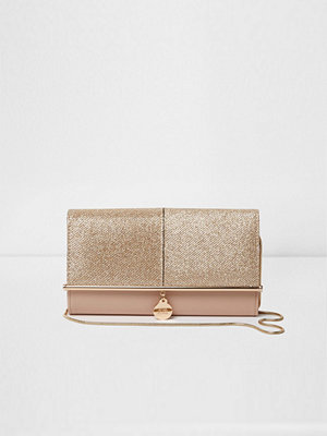 River Island omönstrad kuvertväska Gold glitter bar front foldover clutch bag