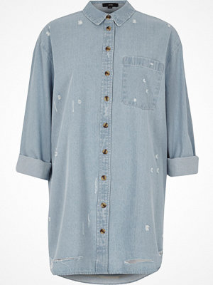 River Island Light Blue oversized distressed denim shirt