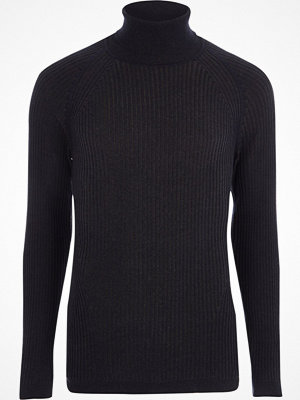 River Island Navy ribbed muscle fit roll neck jumper