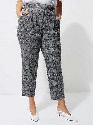 River Island grå rutiga byxor Plus Grey check tapered leg trousers