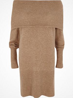 River Island Beige foldover bardot jumper dress