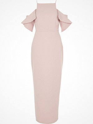 River Island River Island Womens Light Pink frill sleeve bodycon maxi dress