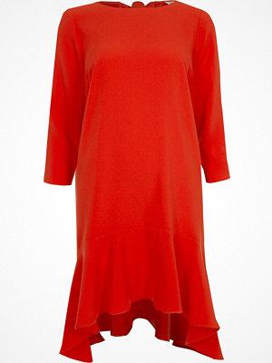 River Island Red peplum hem long sleeve swing dress