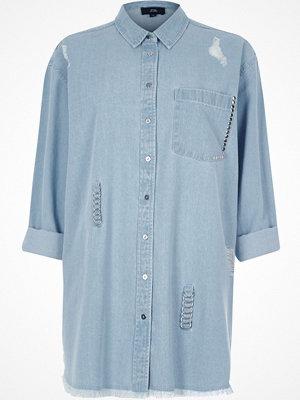 River Island River Island Womens Blue ripped ring oversized denim shirt