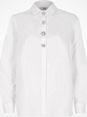 River Island River Island Womens White oversized diamante long sleeve shirt