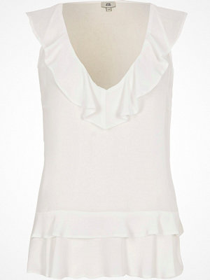 River Island River Island Womens White frill front V neck sleeveless top