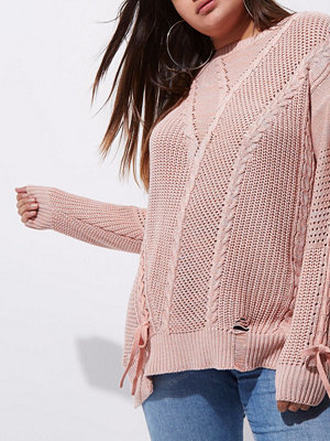River Island River Island Womens Plus Pink ladder knitted tie detail jumper
