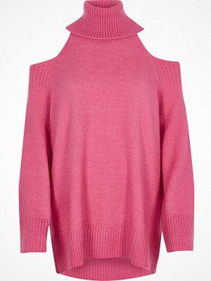 River Island River Island Womens Pink cold shoulder roll neck longline jumper