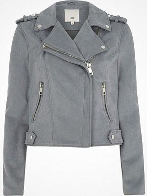 River Island Blue faux suede biker jacket