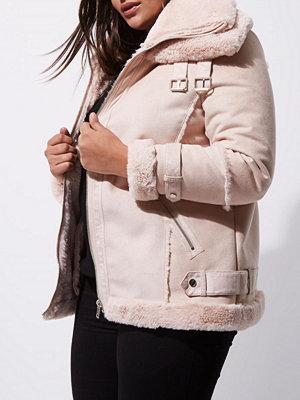 River Island River Island Womens Plus Pink faux fur trim aviator jacket