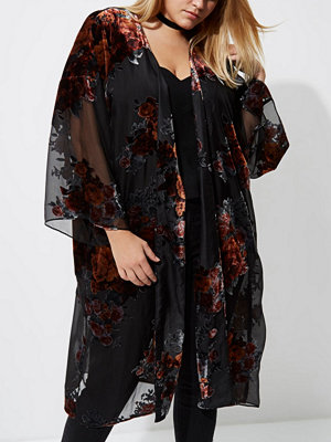 River Island River Island Womens Plus Black sheer floral duster coat