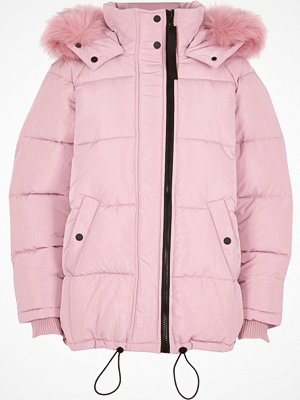 River Island Pink faux fur hood oversized puffer jacket