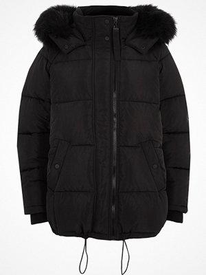 River Island River Island Womens Black oversized puffer faux fur trim coat
