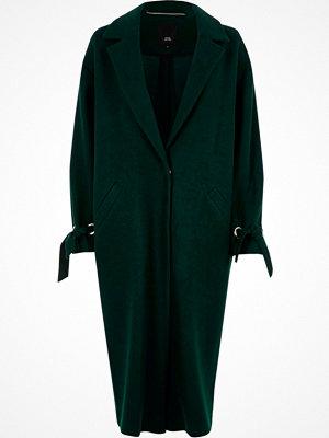 River Island River Island Womens Dark Green tie cuff coat