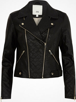 River Island Black quilted faux leather biker jacket