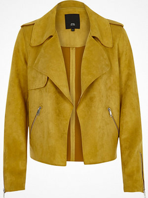 River Island River Island Womens Yellow faux suede cropped trench coat jacket