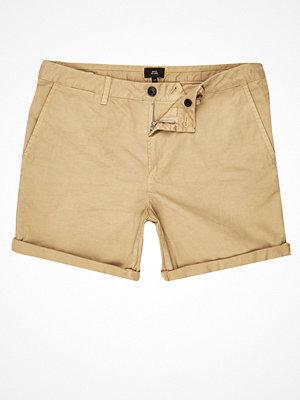 Shorts & kortbyxor - River Island River Island Mens Light Brown rolled hem chino shorts