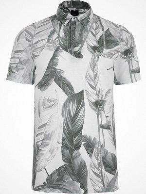 Pikétröjor - River Island River Island Mens Grey mono leaf print slim fit polo shirt