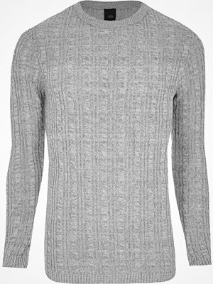 Tröjor & cardigans - River Island Grey muscle fit cable knit jumper