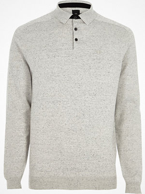 River Island Light Grey long sleeve knitted polo shirt
