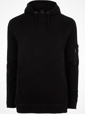 Street & luvtröjor - River Island Black zip sleeve hoodie