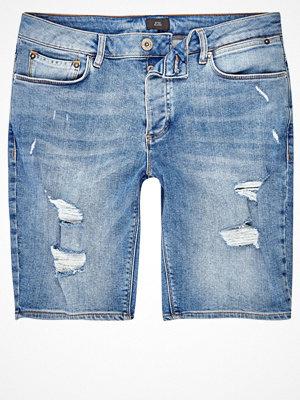 Shorts & kortbyxor - River Island River Island Mens Light Blue wash ripped skinny denim shorts