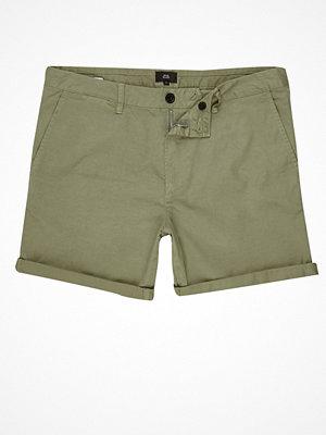 Shorts & kortbyxor - River Island River Island Mens Khaki green rolled hem chino shorts