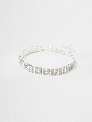 River Island armband River Island Womens Silver tone square diamante choker