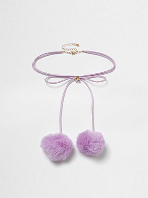 Chokers - River Island River Island Womens Light Purple pom pom bolo choker