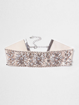 Chokers - River Island River Island Womens Light Pink jewel embellished satin choker