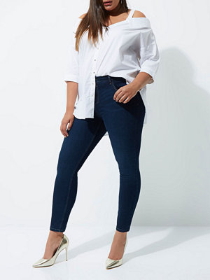 River Island Plus dark Blue Amelie super skinny jeans