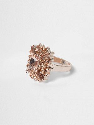 River Island River Island Womens Rose Gold tone orange jewel ring