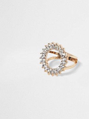 River Island River Island Womens Gold tone diamante circle ring
