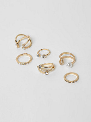 River Island River Island Womens Gold tone diamante and peal ring pack