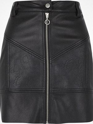 River Island Black faux leather zip biker mini skirt