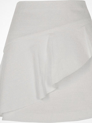 River Island White aymmetric frill front mini skirt