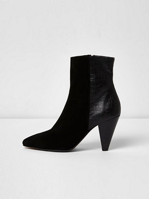 Boots & kängor - River Island River Island Womens Black suede cone heel ankle boots