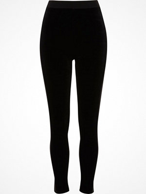 Leggings & tights - River Island River Island Womens Black velvet front high waisted leggings