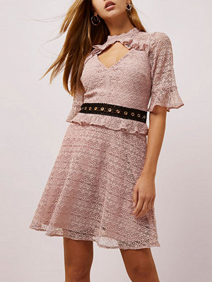 River Island Light Pink lace frill waisted dress