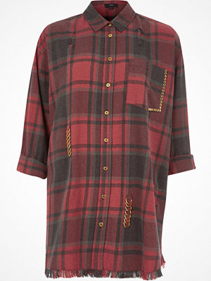 River Island Red check distressed oversized shirt