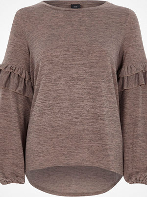 River Island Light brown frill balloon sleeve knitted top