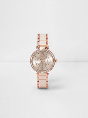 Klockor - River Island River Island Womens Rose Gold tone diamante slim dinky watch