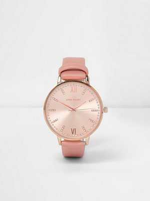 Klockor - River Island Pink rose gold tone round watch